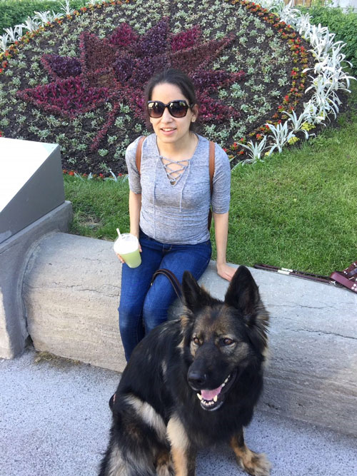 Lina and guide dog Quest