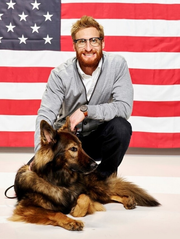 Brad S and Gizzy with American Flag Backdrop