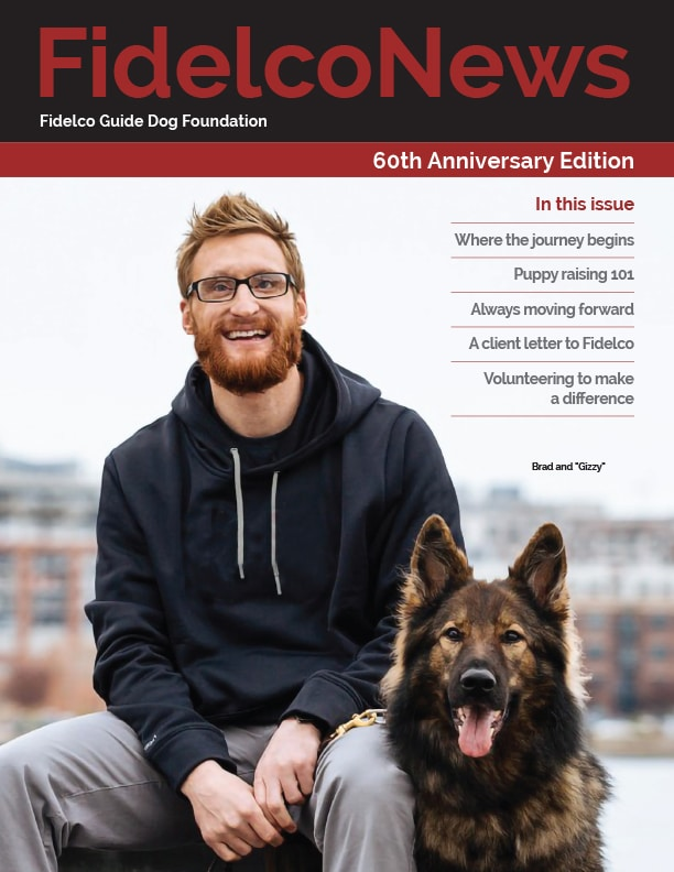 FidelcoNews Spring 2020 Cover with Brad S and Gizzy with city backdrop