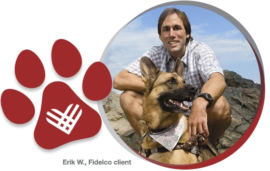 Fidelco client Eric C with guide dog