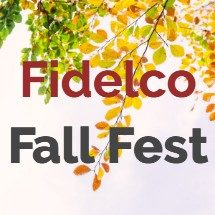 Fidelco Fall Fest Event Logo with Foliage Background