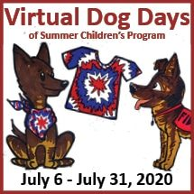 Virtual Dog Days of Summer Children's Program Event Square with cartoon drawings of Fidelco German Shepherds